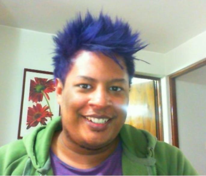 black guy blue hair