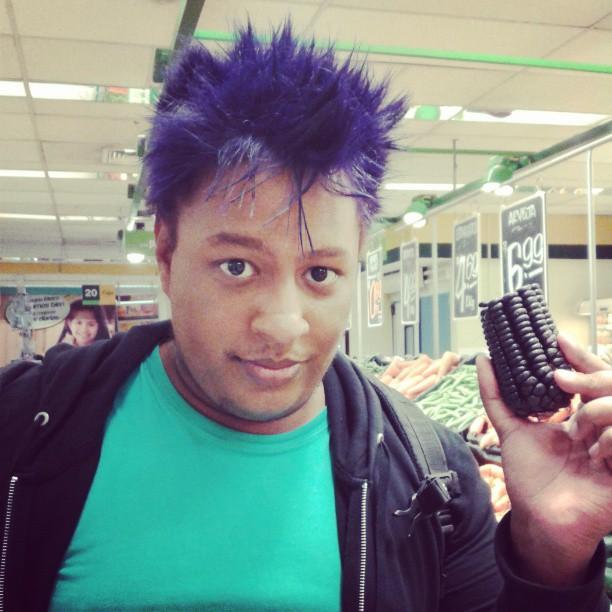 black guy purple hair